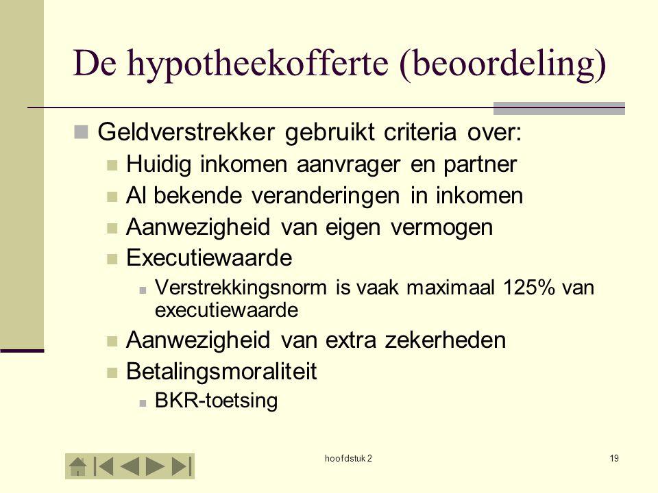 hoofdstuk 219 De hypotheekofferte (beoordeling) Geldverstrekker gebruikt criteria over: Huidig inkomen aanvrager en partner Al bekende veranderingen i