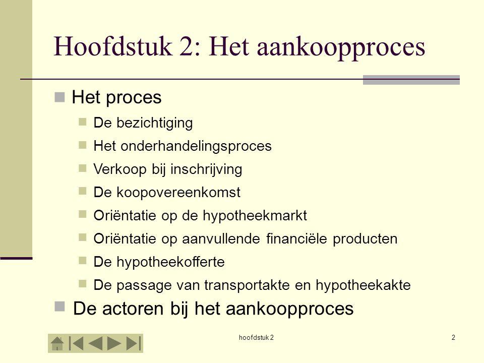 hoofdstuk 22 Hoofdstuk 2: Het aankoopproces Het proces De bezichtiging Het onderhandelingsproces Verkoop bij inschrijving De koopovereenkomst Oriëntat