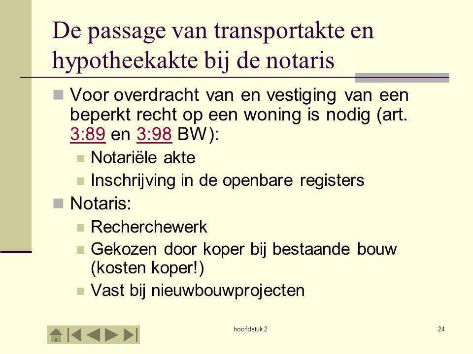 hoofdstuk 224 De passage van transportakte en hypotheekakte bij de notaris Voor overdracht van en vestiging van een beperkt recht op een woning is nod