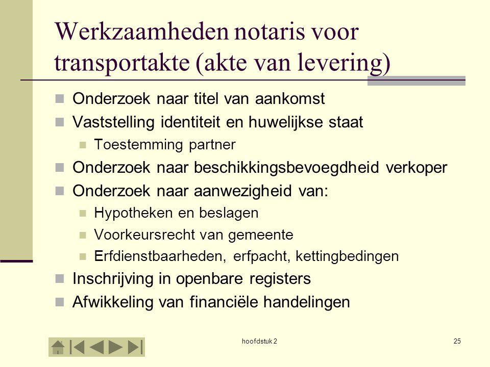 hoofdstuk 225 Werkzaamheden notaris voor transportakte (akte van levering) Onderzoek naar titel van aankomst Vaststelling identiteit en huwelijkse sta