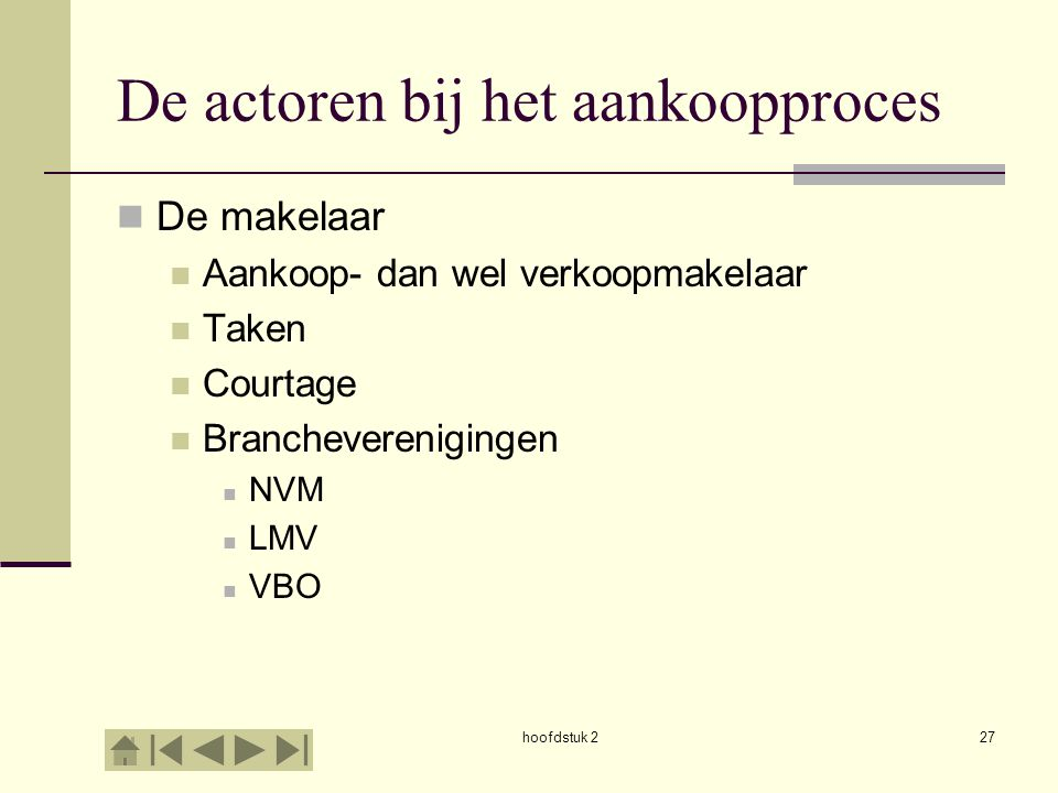 hoofdstuk 227 De actoren bij het aankoopproces De makelaar Aankoop- dan wel verkoopmakelaar Taken Courtage Brancheverenigingen NVM LMV VBO
