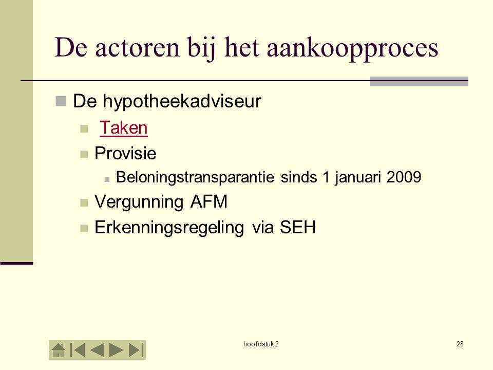 hoofdstuk 228 De actoren bij het aankoopproces De hypotheekadviseur Taken Provisie Beloningstransparantie sinds 1 januari 2009 Vergunning AFM Erkennin