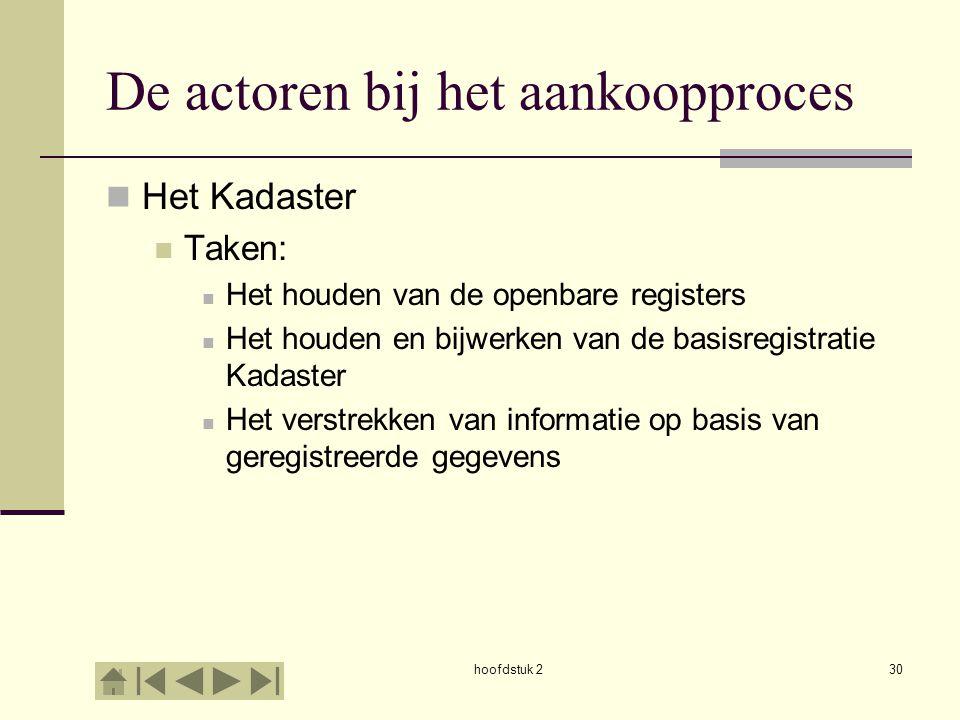 hoofdstuk 230 De actoren bij het aankoopproces Het Kadaster Taken: Het houden van de openbare registers Het houden en bijwerken van de basisregistrati