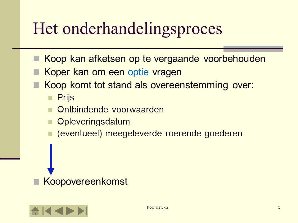 hoofdstuk 25 Het onderhandelingsproces Koop kan afketsen op te vergaande voorbehouden Koper kan om een optie vragen Koop komt tot stand als overeenste