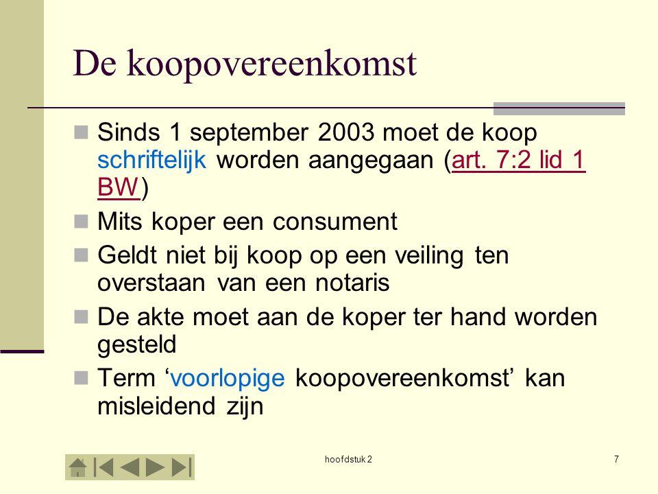 hoofdstuk 28 De koopovereenkomst Recht op drie dagen bedenktijd (art.