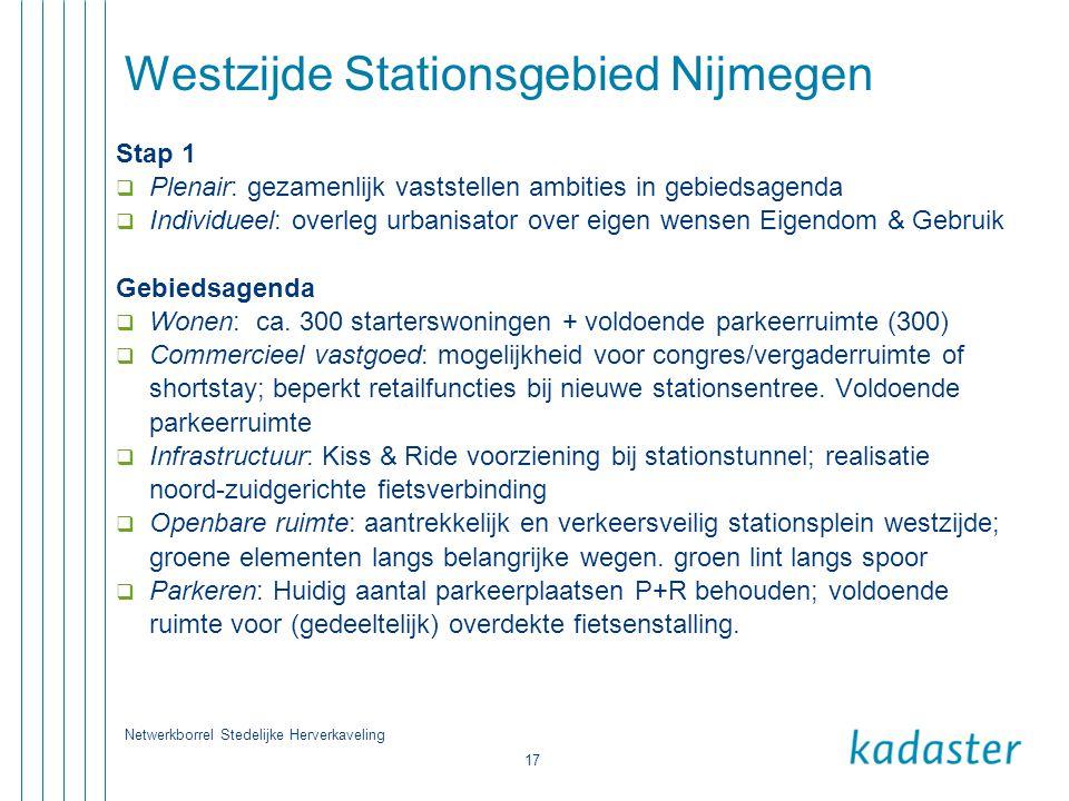 Netwerkborrel Stedelijke Herverkaveling 17 Westzijde Stationsgebied Nijmegen Stap 1  Plenair: gezamenlijk vaststellen ambities in gebiedsagenda  Ind