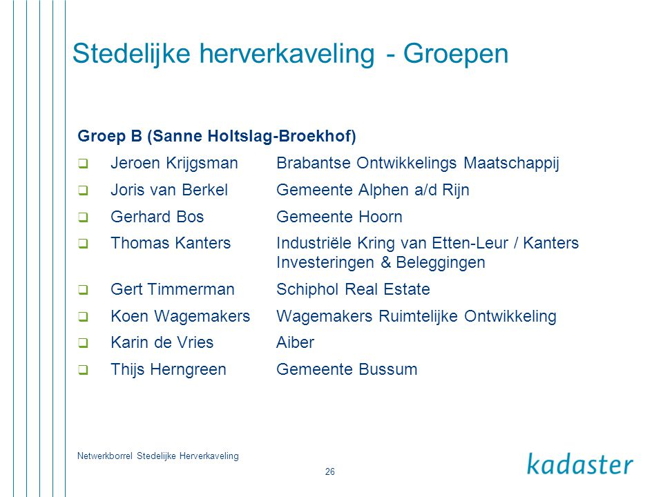 Netwerkborrel Stedelijke Herverkaveling 26 Stedelijke herverkaveling - Groepen Groep B (Sanne Holtslag-Broekhof)  Jeroen KrijgsmanBrabantse Ontwikkel