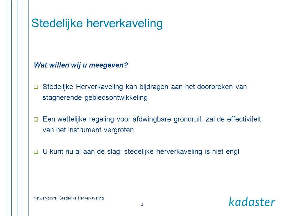 Netwerkborrel Stedelijke Herverkaveling 5 Stedelijke herverkaveling Wat is Stedelijke Herverkaveling.