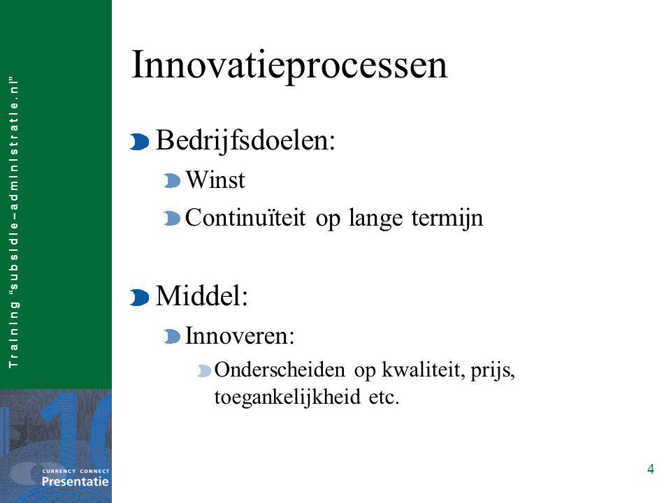 """T r a I n I n g """"s u b s I d I e – a d m I n I s t r a t I e. n l"""" 4 Innovatieprocessen Bedrijfsdoelen: Winst Continuïteit op lange termijn Middel: In"""
