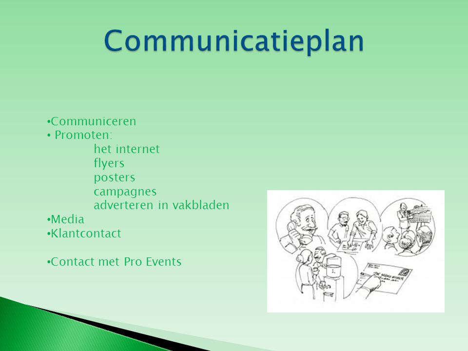 Communiceren Promoten: het internet flyers posters campagnes adverteren in vakbladen Media Klantcontact Contact met Pro Events