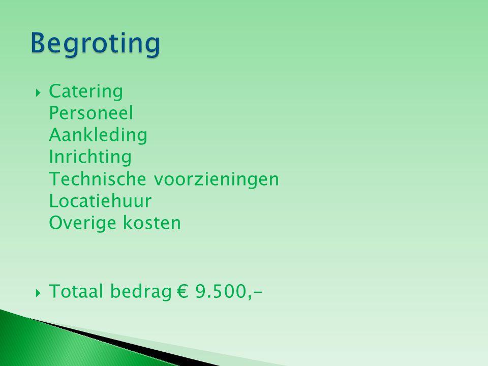  Catering Personeel Aankleding Inrichting Technische voorzieningen Locatiehuur Overige kosten  Totaal bedrag € 9.500,-
