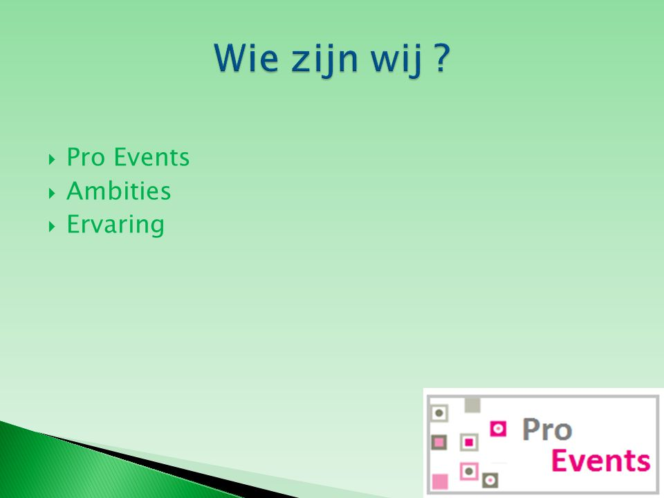  Pro Events  Ambities  Ervaring