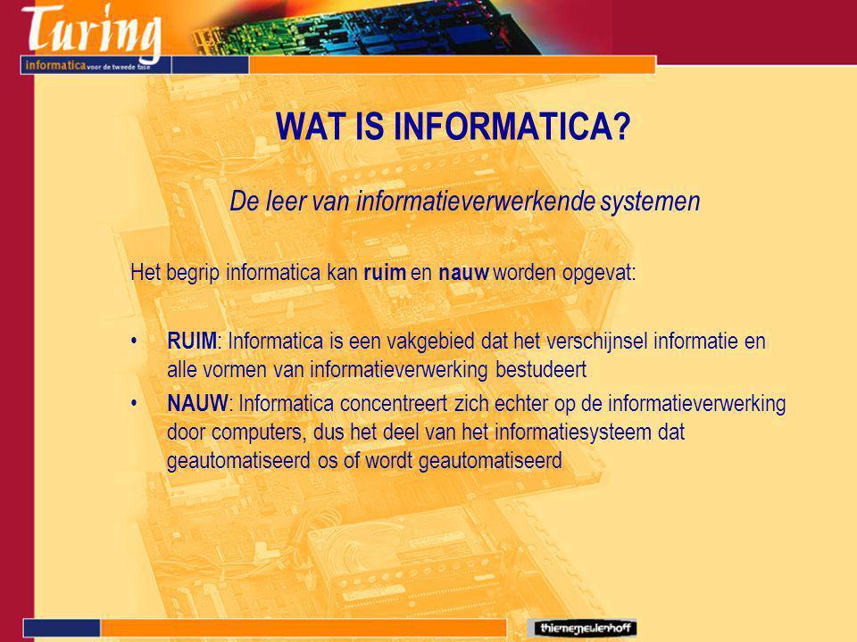 WAT IS INFORMATICA? De leer van informatieverwerkende systemen Het begrip informatica kan ruim en nauw worden opgevat: RUIM : Informatica is een vakge