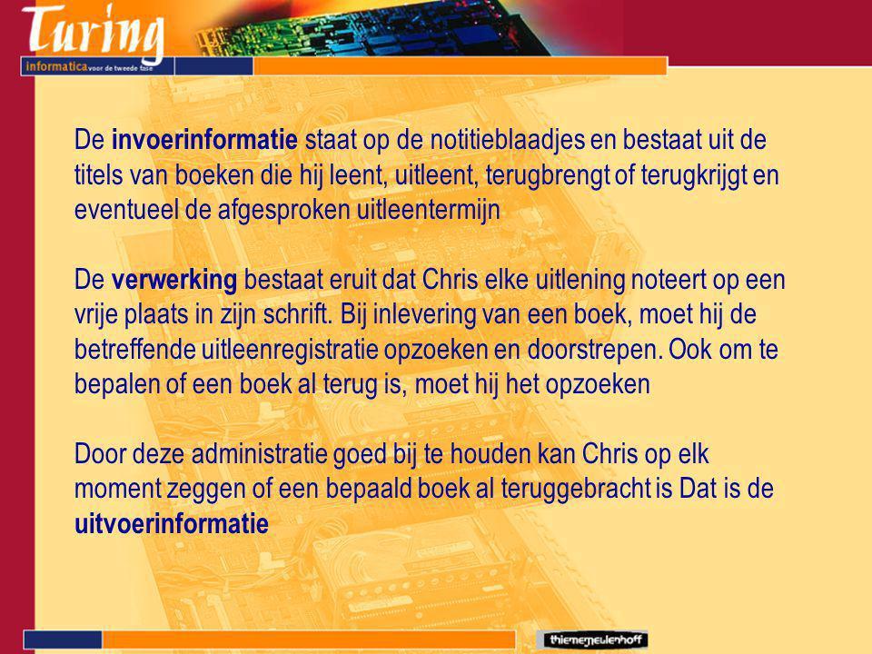 De invoerinformatie staat op de notitieblaadjes en bestaat uit de titels van boeken die hij leent, uitleent, terugbrengt of terugkrijgt en eventueel d