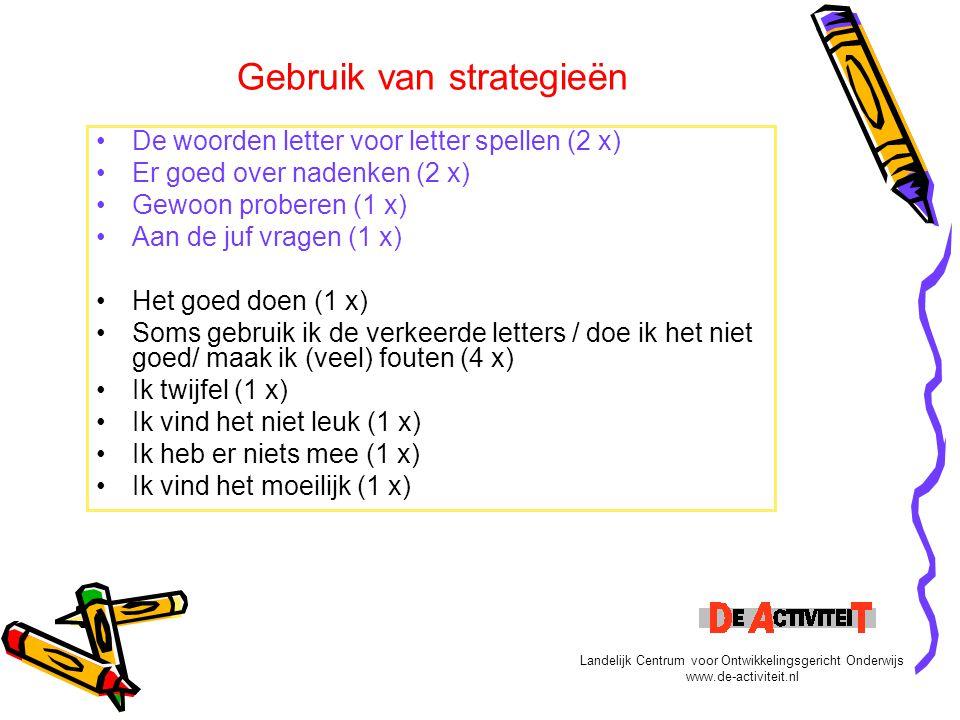 Gebruik van strategieën De woorden letter voor letter spellen (2 x) Er goed over nadenken (2 x) Gewoon proberen (1 x) Aan de juf vragen (1 x) Het goed