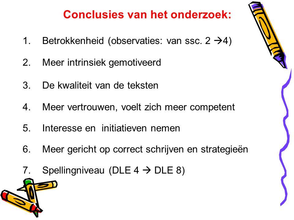 Conclusies van het onderzoek: 1.Betrokkenheid (observaties: van ssc. 2  4) 2.Meer intrinsiek gemotiveerd 3.De kwaliteit van de teksten 4.Meer vertrou