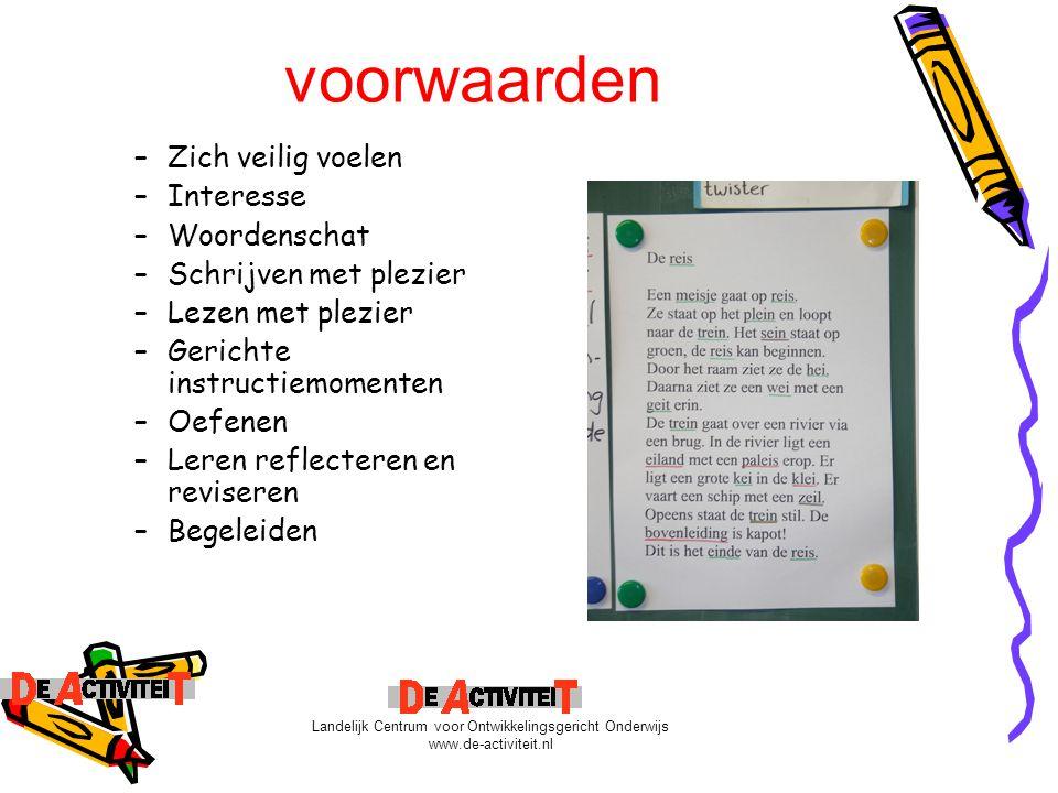 OGO en spelling Leerstof- én kindgericht betrokkenheid betekenissen bedoelingen Landelijk Centrum voor Ontwikkelingsgericht Onderwijs www.de-activiteit.nl
