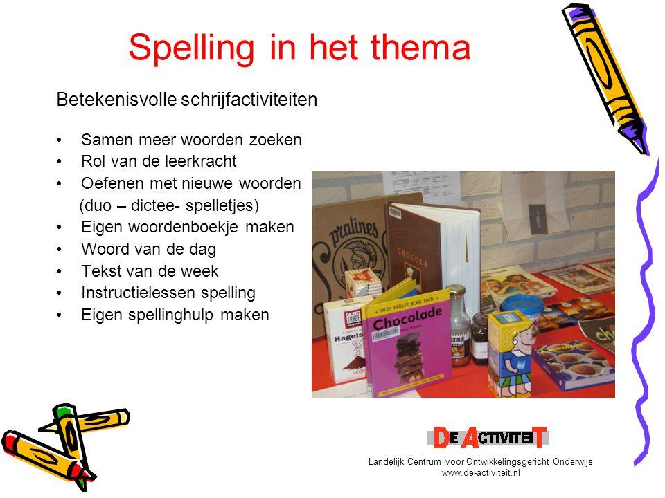 Spelling in het thema Betekenisvolle schrijfactiviteiten Samen meer woorden zoeken Rol van de leerkracht Oefenen met nieuwe woorden (duo – dictee- spe