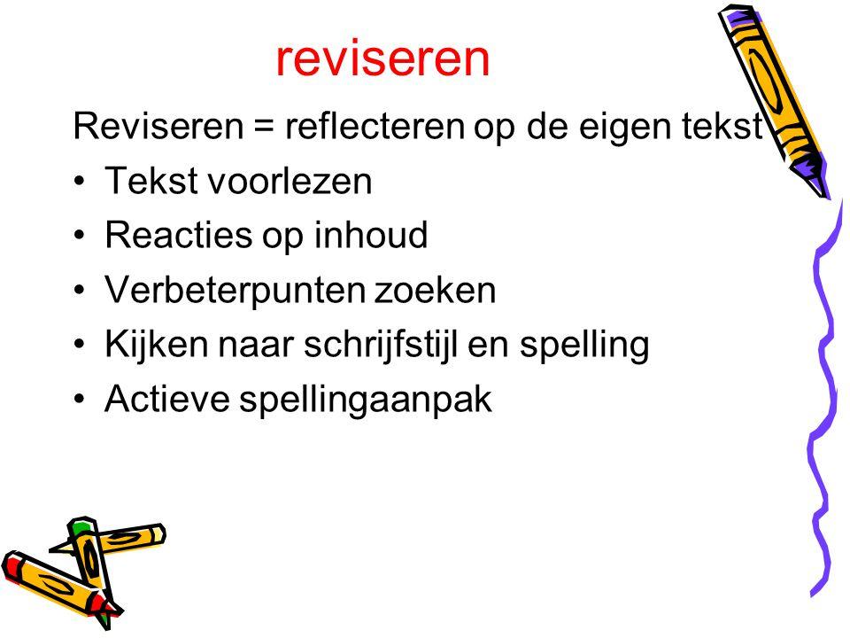 reviseren Reviseren = reflecteren op de eigen tekst Tekst voorlezen Reacties op inhoud Verbeterpunten zoeken Kijken naar schrijfstijl en spelling Acti