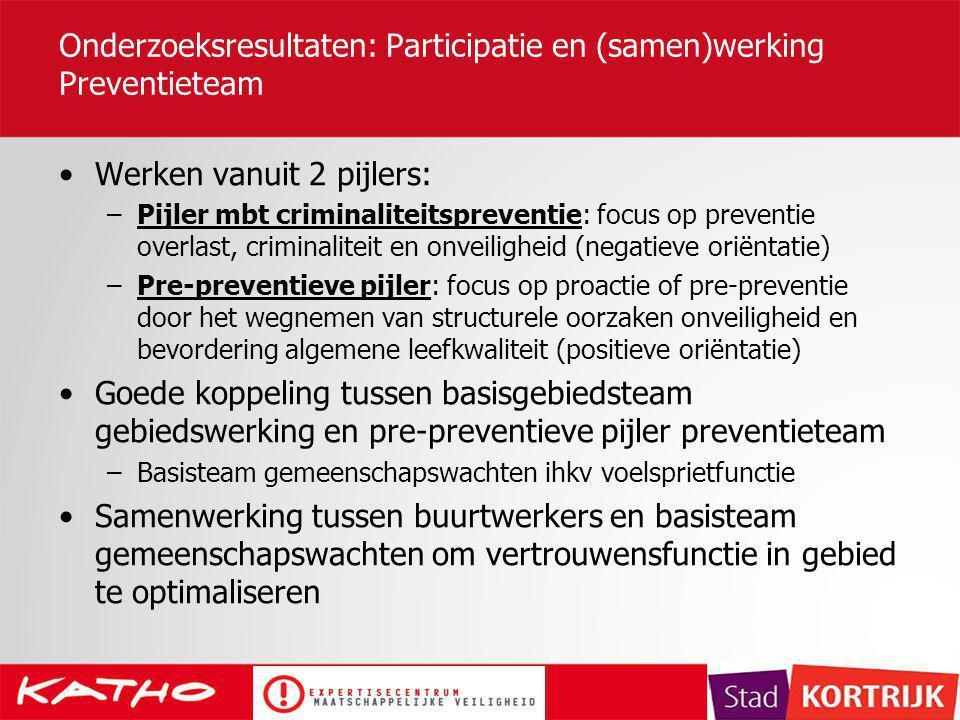 Onderzoeksresultaten: Participatie en (samen)werking Preventieteam Werken vanuit 2 pijlers: –Pijler mbt criminaliteitspreventie: focus op preventie ov