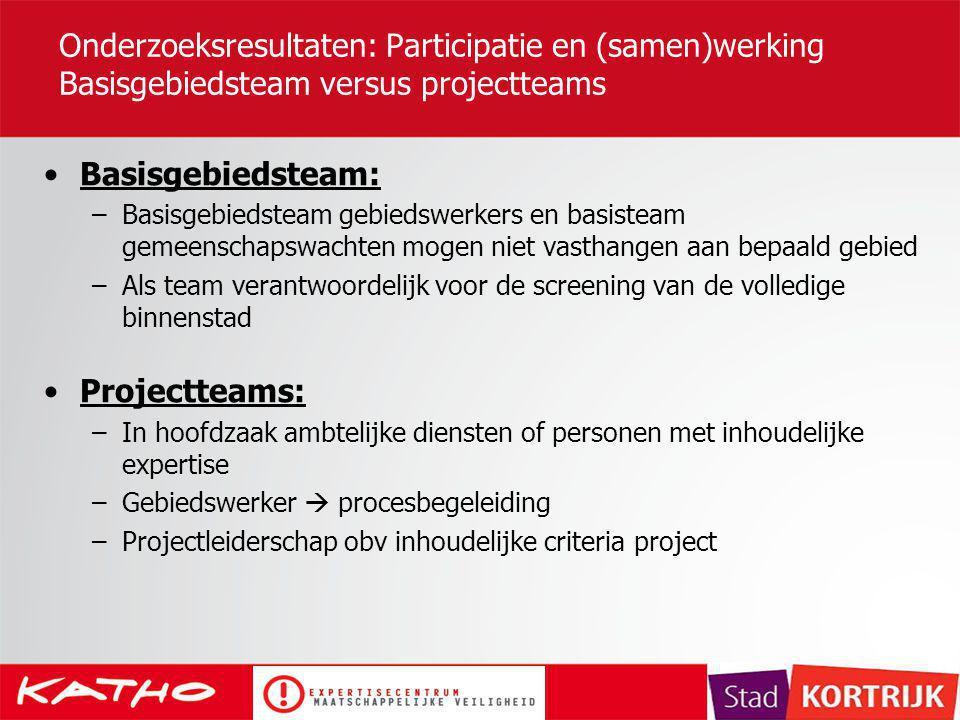 Onderzoeksresultaten: Participatie en (samen)werking Basisgebiedsteam versus projectteams Basisgebiedsteam: –Basisgebiedsteam gebiedswerkers en basist
