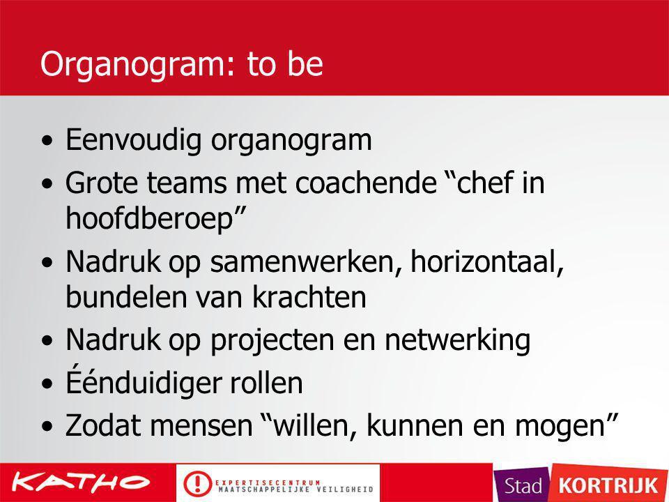 "Organogram: to be Eenvoudig organogram Grote teams met coachende ""chef in hoofdberoep"" Nadruk op samenwerken, horizontaal, bundelen van krachten Nadru"