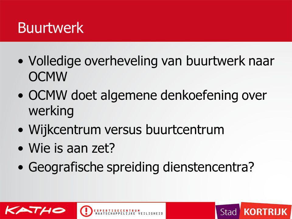 Buurtwerk Volledige overheveling van buurtwerk naar OCMW OCMW doet algemene denkoefening over werking Wijkcentrum versus buurtcentrum Wie is aan zet?