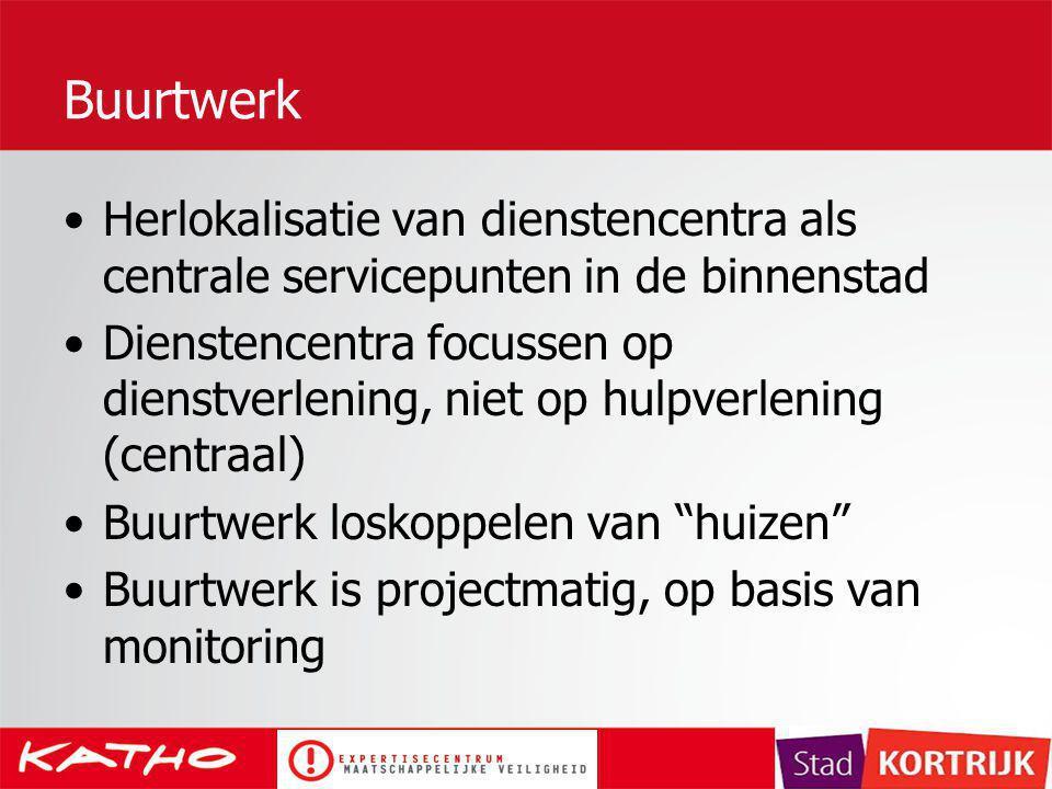 Buurtwerk Herlokalisatie van dienstencentra als centrale servicepunten in de binnenstad Dienstencentra focussen op dienstverlening, niet op hulpverlen