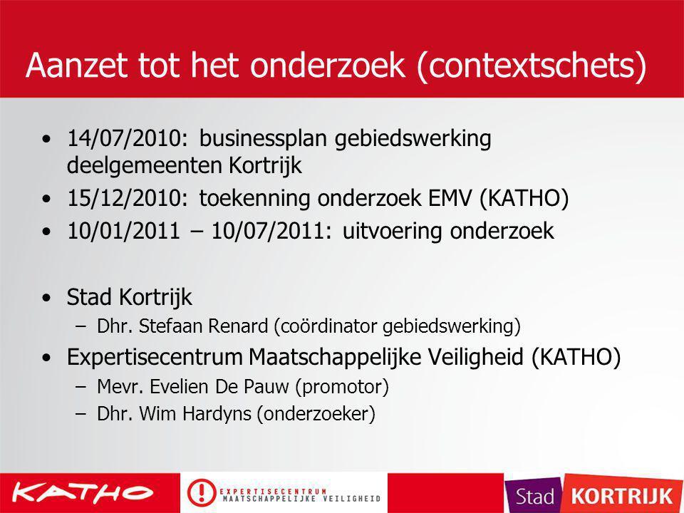 Aanzet tot het onderzoek (contextschets) 14/07/2010: businessplan gebiedswerking deelgemeenten Kortrijk 15/12/2010: toekenning onderzoek EMV (KATHO) 1