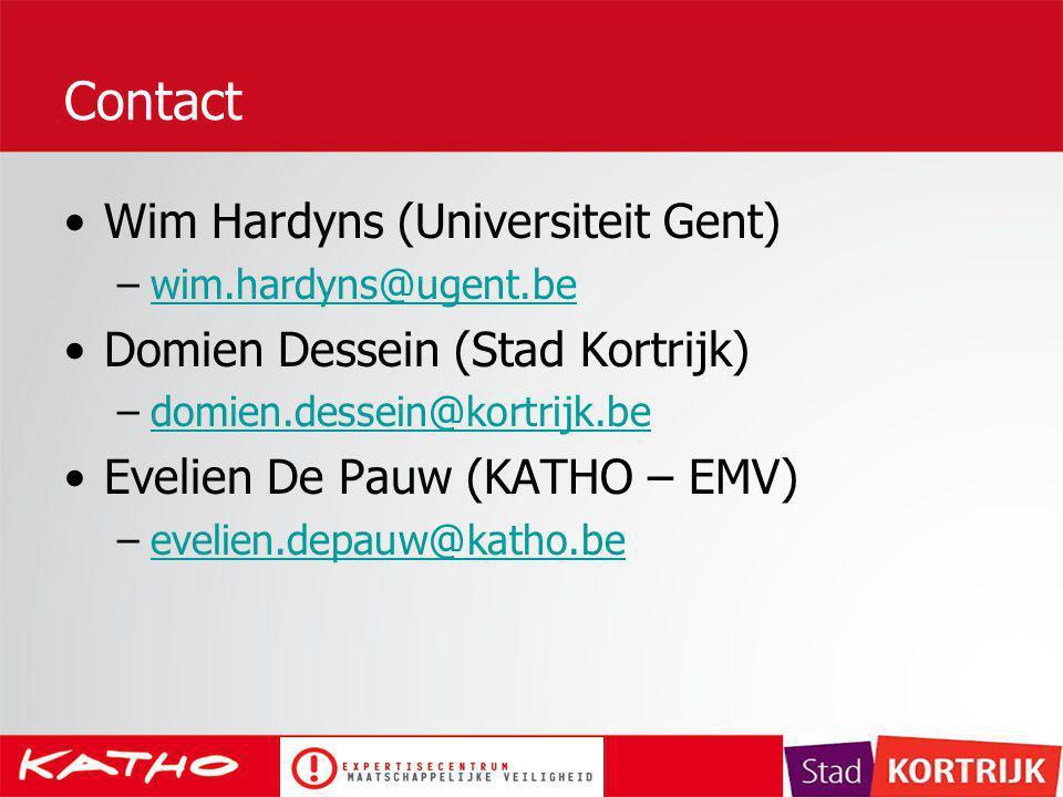 Contact Wim Hardyns (Universiteit Gent) –wim.hardyns@ugent.bewim.hardyns@ugent.be Domien Dessein (Stad Kortrijk) –domien.dessein@kortrijk.bedomien.des