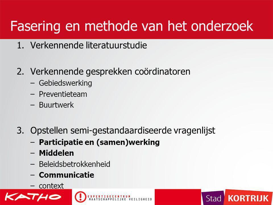 Fasering en methode van het onderzoek 1.Verkennende literatuurstudie 2.Verkennende gesprekken coördinatoren –Gebiedswerking –Preventieteam –Buurtwerk