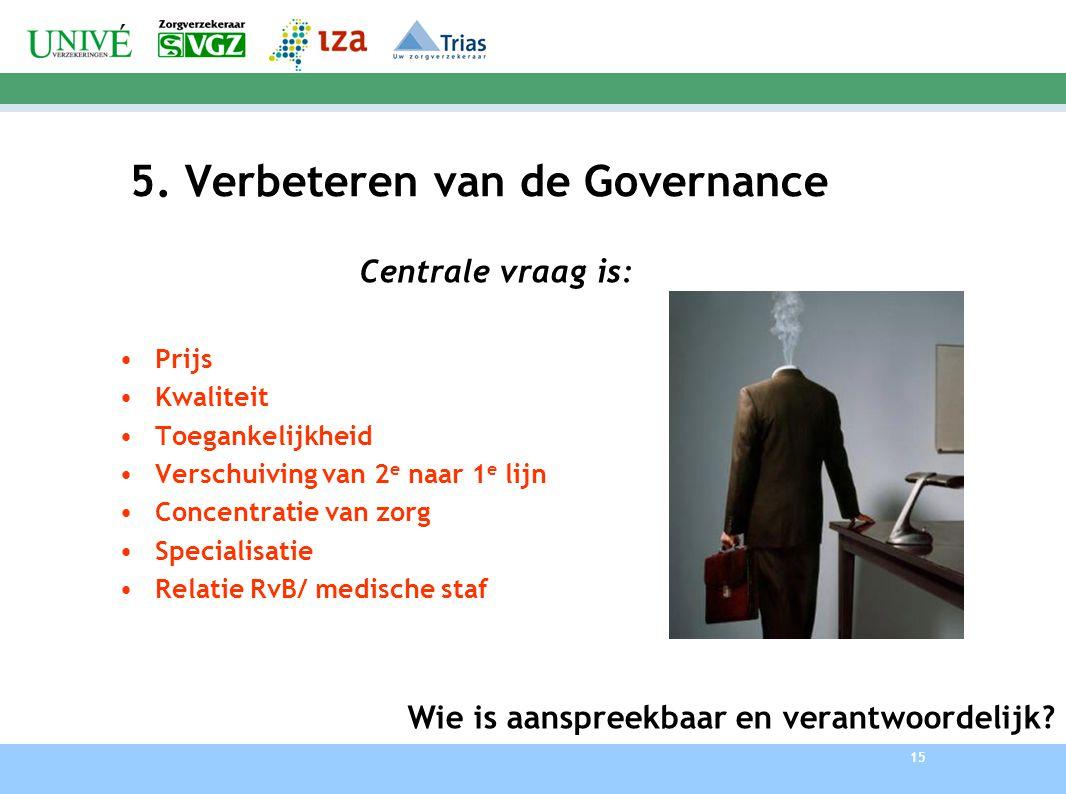 15 5. Verbeteren van de Governance Centrale vraag is: Prijs Kwaliteit Toegankelijkheid Verschuiving van 2 e naar 1 e lijn Concentratie van zorg Specia