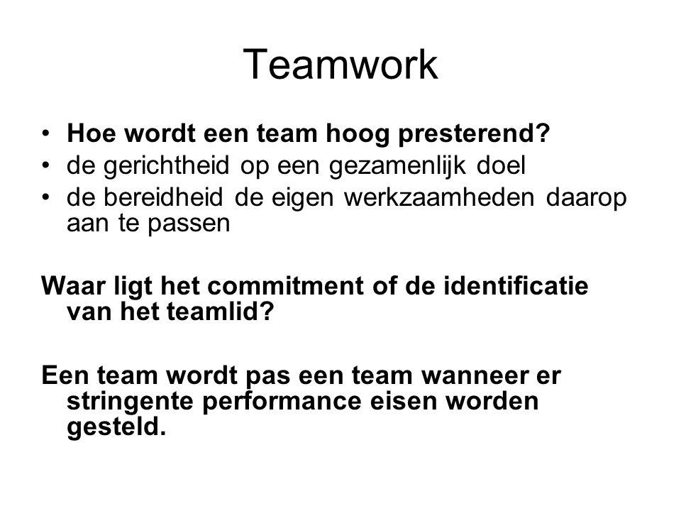 Teamwork Hoe wordt een team hoog presterend.