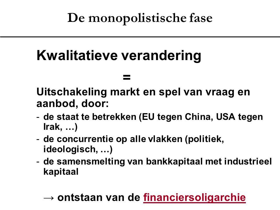 De monopolistische fase Kwalitatieve verandering = Uitschakeling markt en spel van vraag en aanbod, door: -de staat te betrekken (EU tegen China, USA
