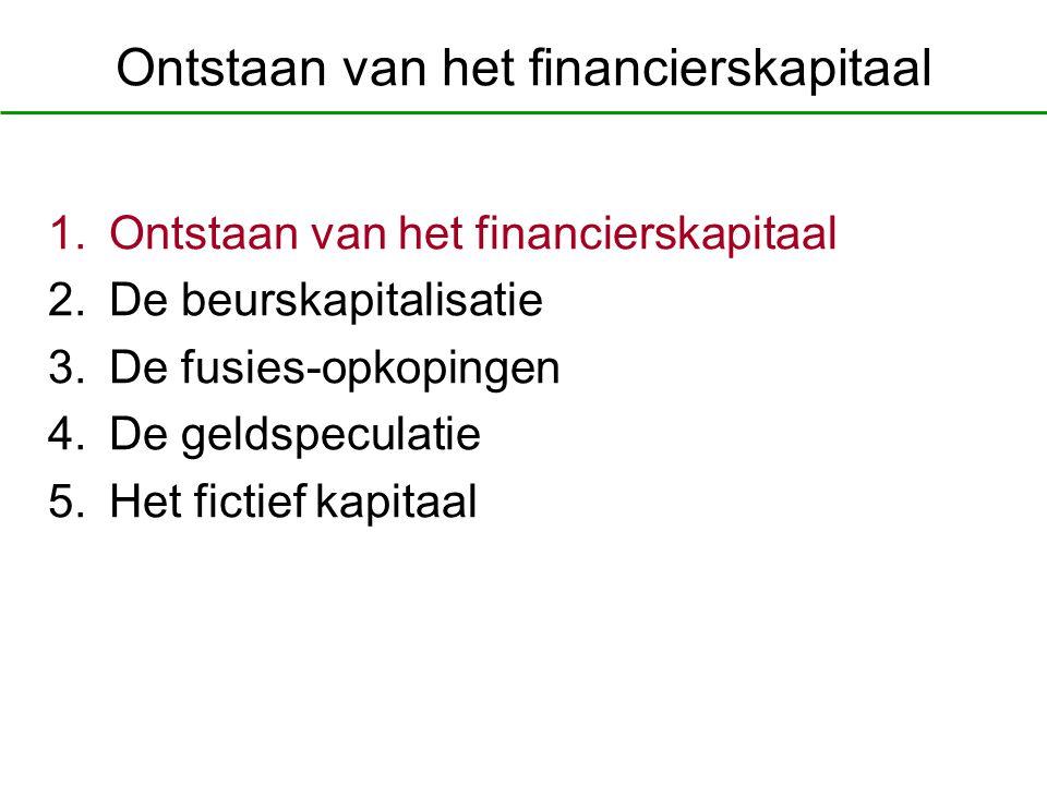Ontstaan van het financierskapitaal 1.Ontstaan van het financierskapitaal 2.De beurskapitalisatie 3.De fusies-opkopingen 4.De geldspeculatie 5.Het fic