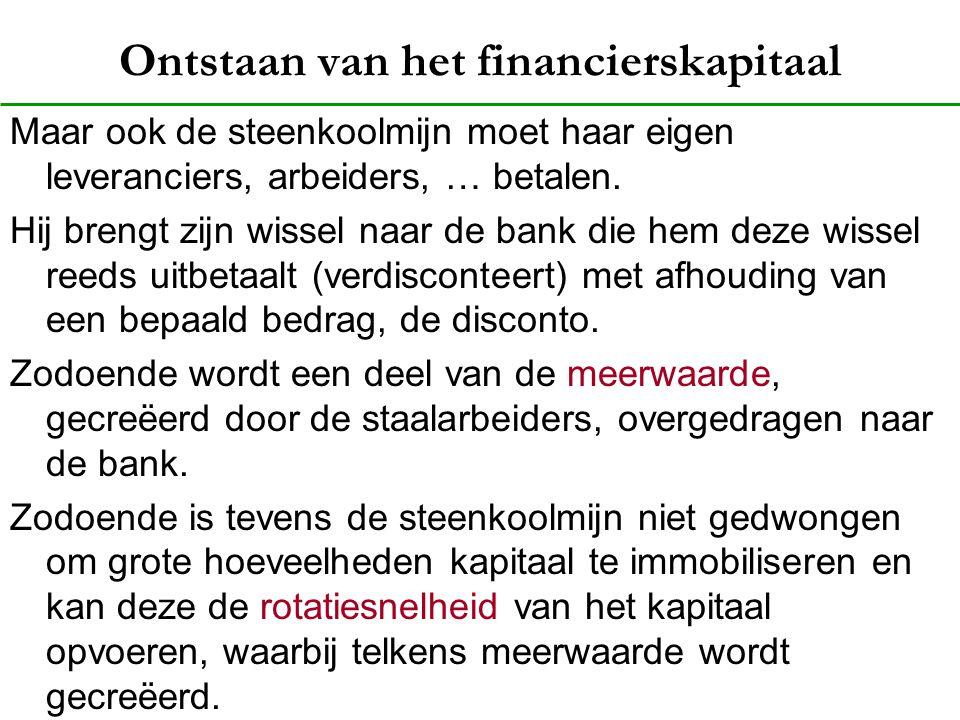 Ontstaan van het financierskapitaal Maar ook de steenkoolmijn moet haar eigen leveranciers, arbeiders, … betalen. Hij brengt zijn wissel naar de bank
