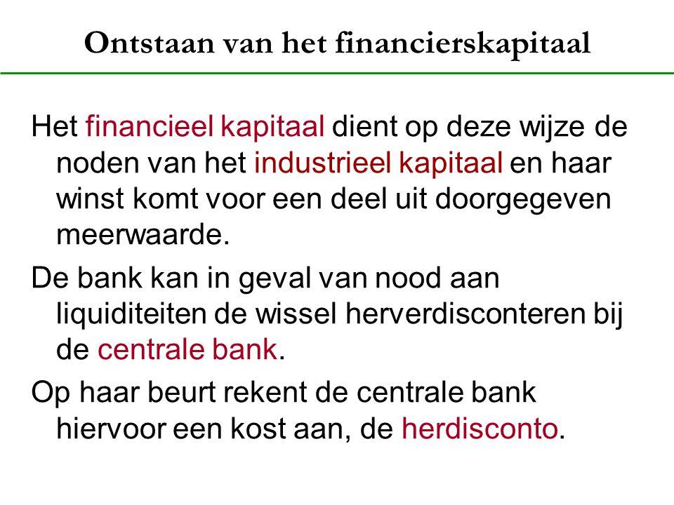 Ontstaan van het financierskapitaal Het financieel kapitaal dient op deze wijze de noden van het industrieel kapitaal en haar winst komt voor een deel