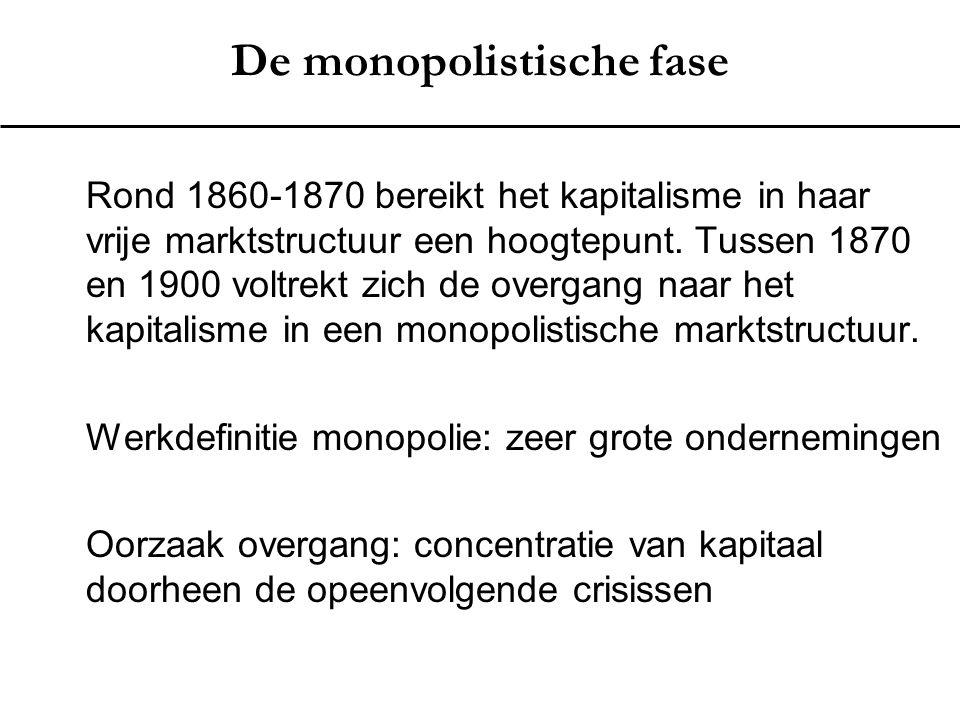 De monopolistische fase Rond 1860-1870 bereikt het kapitalisme in haar vrije marktstructuur een hoogtepunt. Tussen 1870 en 1900 voltrekt zich de overg