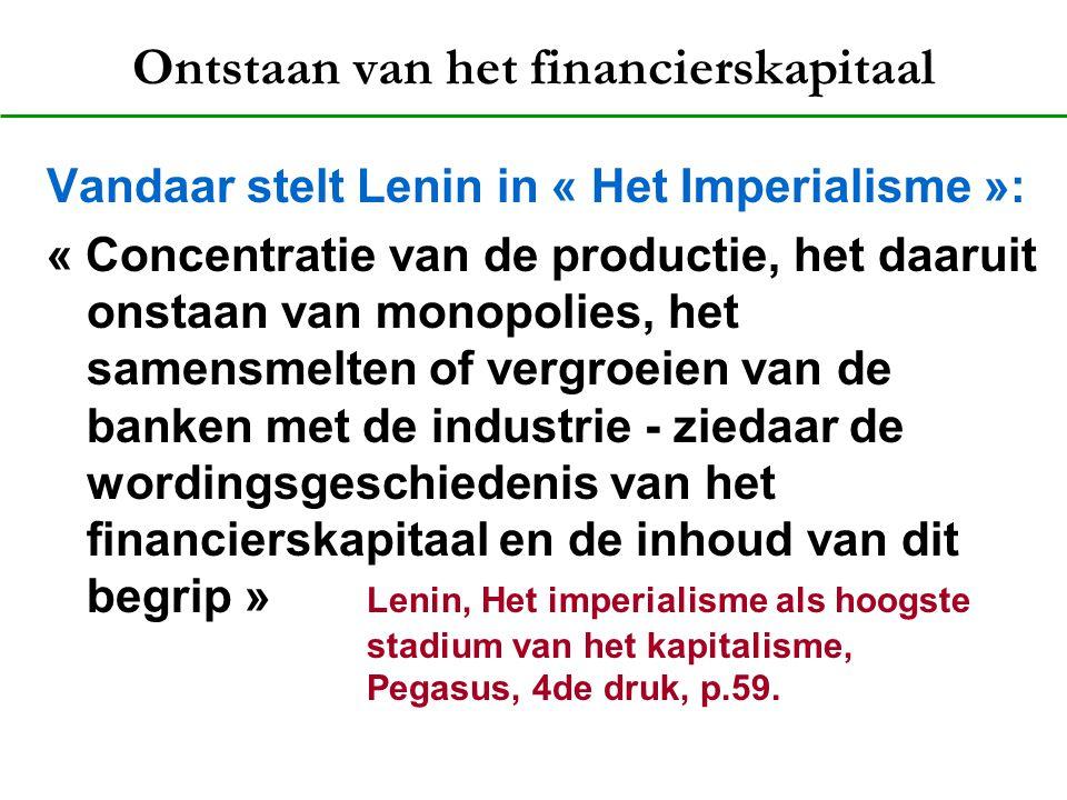 Ontstaan van het financierskapitaal Vandaar stelt Lenin in « Het Imperialisme »: « Concentratie van de productie, het daaruit onstaan van monopolies,