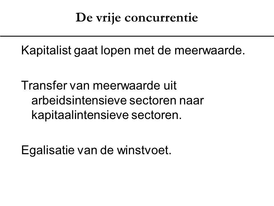 De vrije concurrentie Kapitalist gaat lopen met de meerwaarde. Transfer van meerwaarde uit arbeidsintensieve sectoren naar kapitaalintensieve sectoren