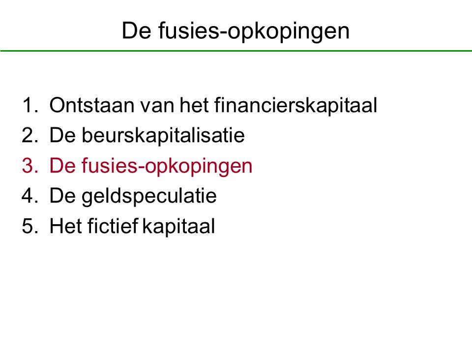De fusies-opkopingen 1.Ontstaan van het financierskapitaal 2.De beurskapitalisatie 3.De fusies-opkopingen 4.De geldspeculatie 5.Het fictief kapitaal