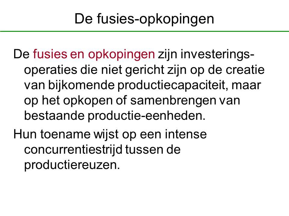 De fusies-opkopingen De fusies en opkopingen zijn investerings- operaties die niet gericht zijn op de creatie van bijkomende productiecapaciteit, maar