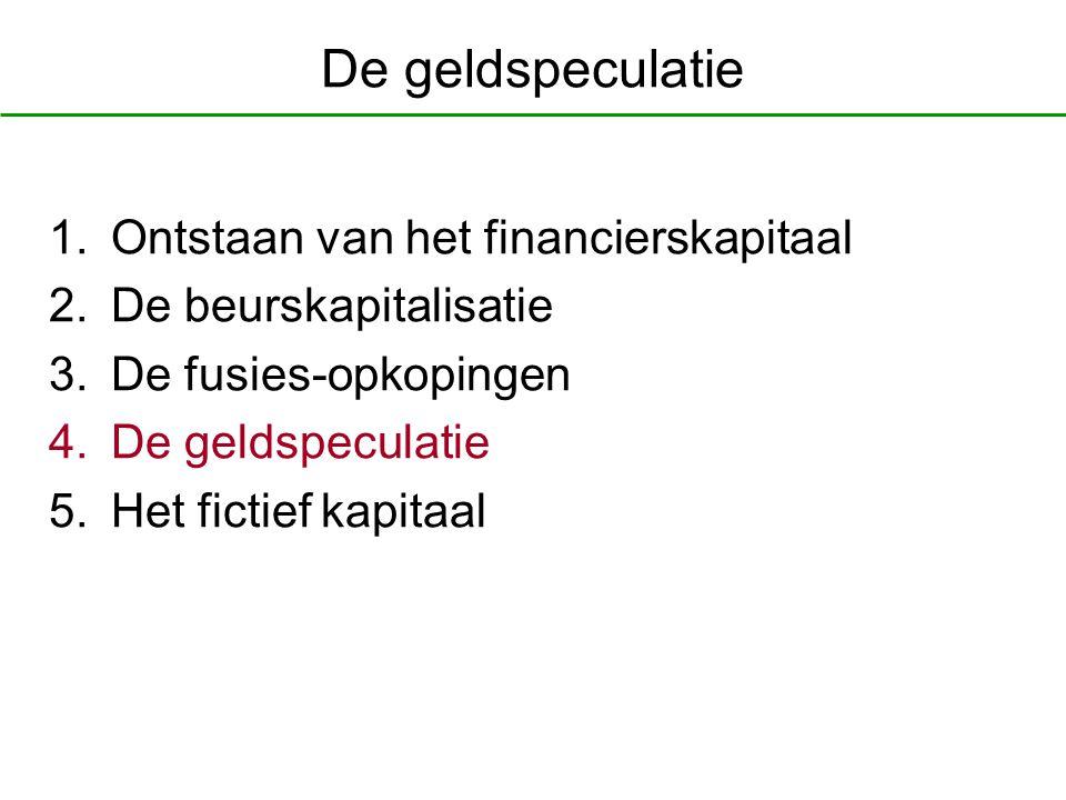De geldspeculatie 1.Ontstaan van het financierskapitaal 2.De beurskapitalisatie 3.De fusies-opkopingen 4.De geldspeculatie 5.Het fictief kapitaal