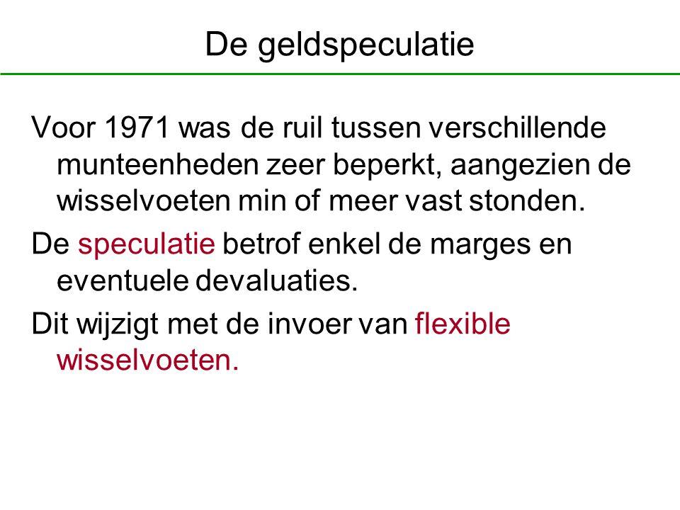 De geldspeculatie Voor 1971 was de ruil tussen verschillende munteenheden zeer beperkt, aangezien de wisselvoeten min of meer vast stonden. De specula