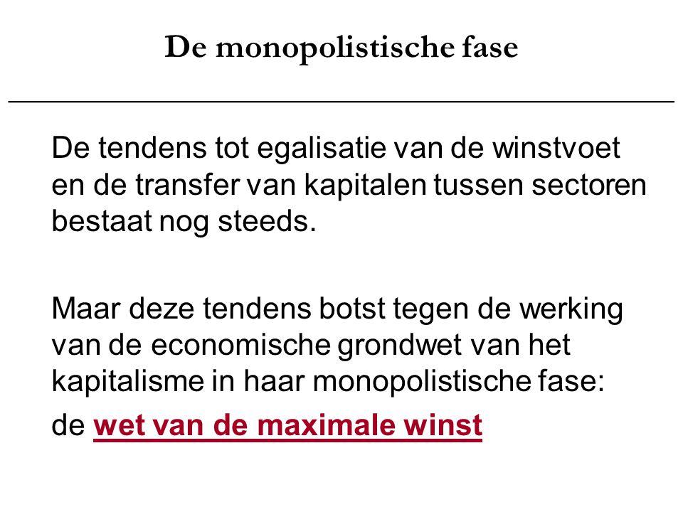 De monopolistische fase _______________________________________ Hoe eigenen de monopolies zich deze maximale winst toe.