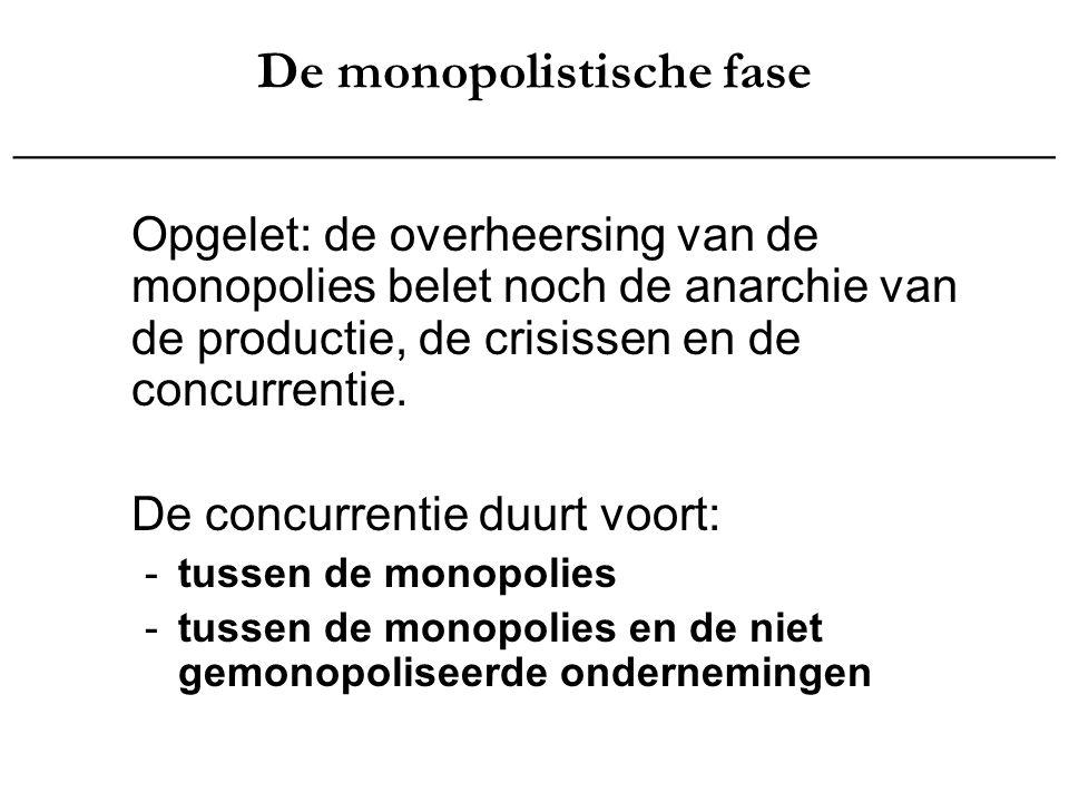 De monopolistische fase _______________________________________ Zodoende accentueert de overheersing van de monopolies de tegenstellingen binnen het kapitalisme en de uitbuiting van de arbeidersklasse tot in het extreme.