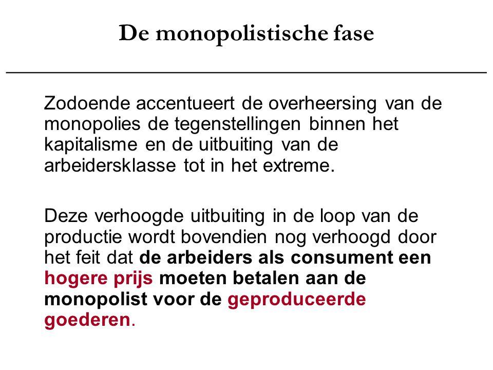 De monopolistische fase _______________________________________ Zodoende accentueert de overheersing van de monopolies de tegenstellingen binnen het k