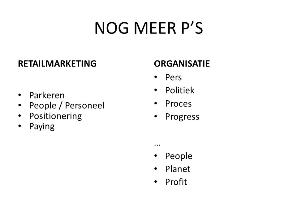 NOG MEER P'S RETAILMARKETING Parkeren People / Personeel Positionering Paying ORGANISATIE Pers Politiek Proces Progress … People Planet Profit