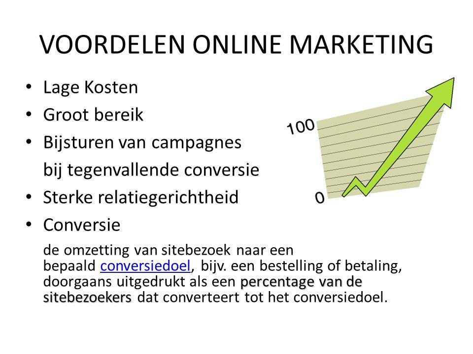 Lage Kosten Groot bereik Bijsturen van campagnes bij tegenvallende conversie Sterke relatiegerichtheid Conversie percentage van de sitebezoekers de om