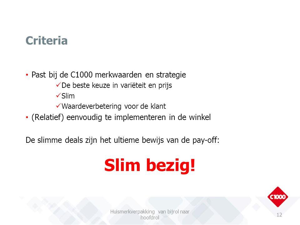 Past bij de C1000 merkwaarden en strategie De beste keuze in variëteit en prijs Slim Waardeverbetering voor de klant (Relatief) eenvoudig te implement